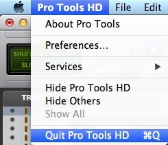 Quit Pro Tools